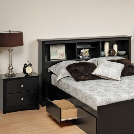 prepac sonoma black full / queen wood bookcase headboard 2 piece