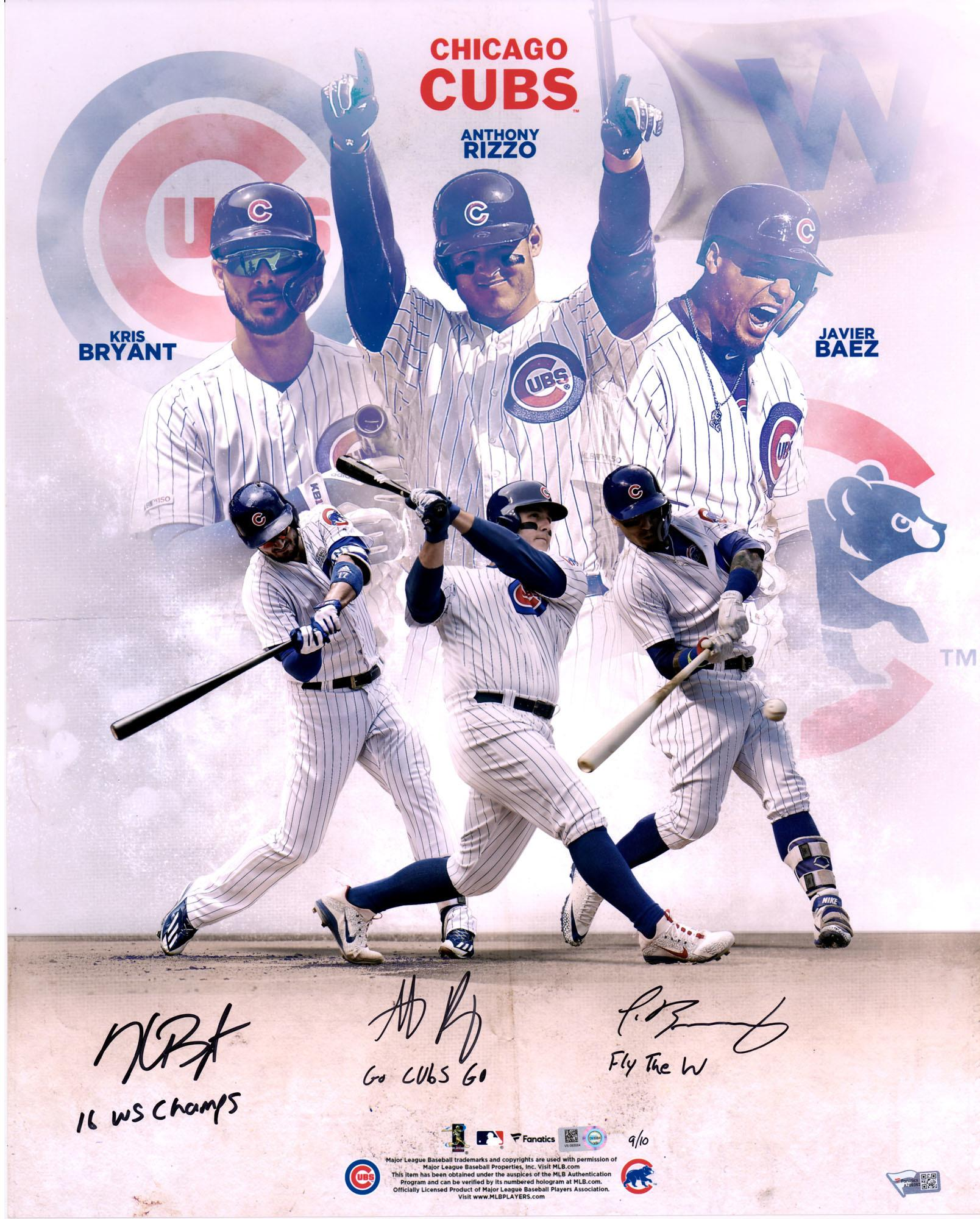 kris bryant anthony rizzo and javier baez chicago cubs autographed 16 x 20 stylized photograph with multiple inscriptions limited edition of 10