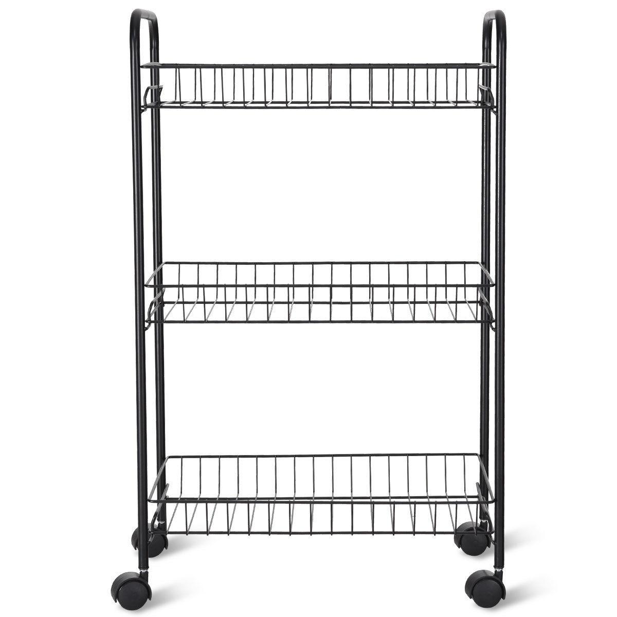 3 Tier Rolling Kitchen Trolley Utility Cart Metal Wire
