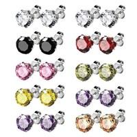 BodyJ4You Earrings Set Stud Colored Cubic Zirconia Pink ...