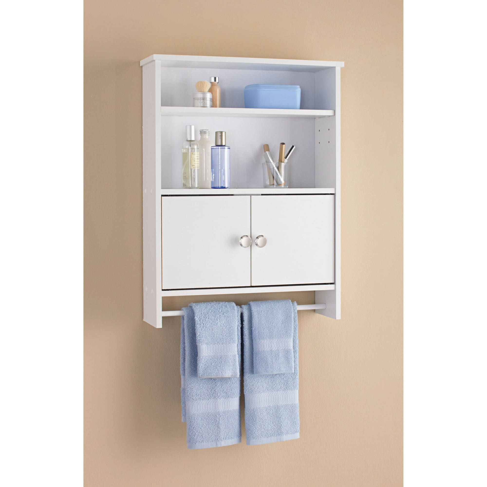 Wall Cabinets For Bathrooms Mainstays 2 Door Bathroom Wall Cabinet White