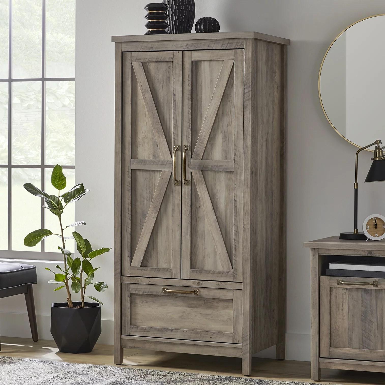 better homes gardens modern farmhouse armoire rustic gray finish walmart com