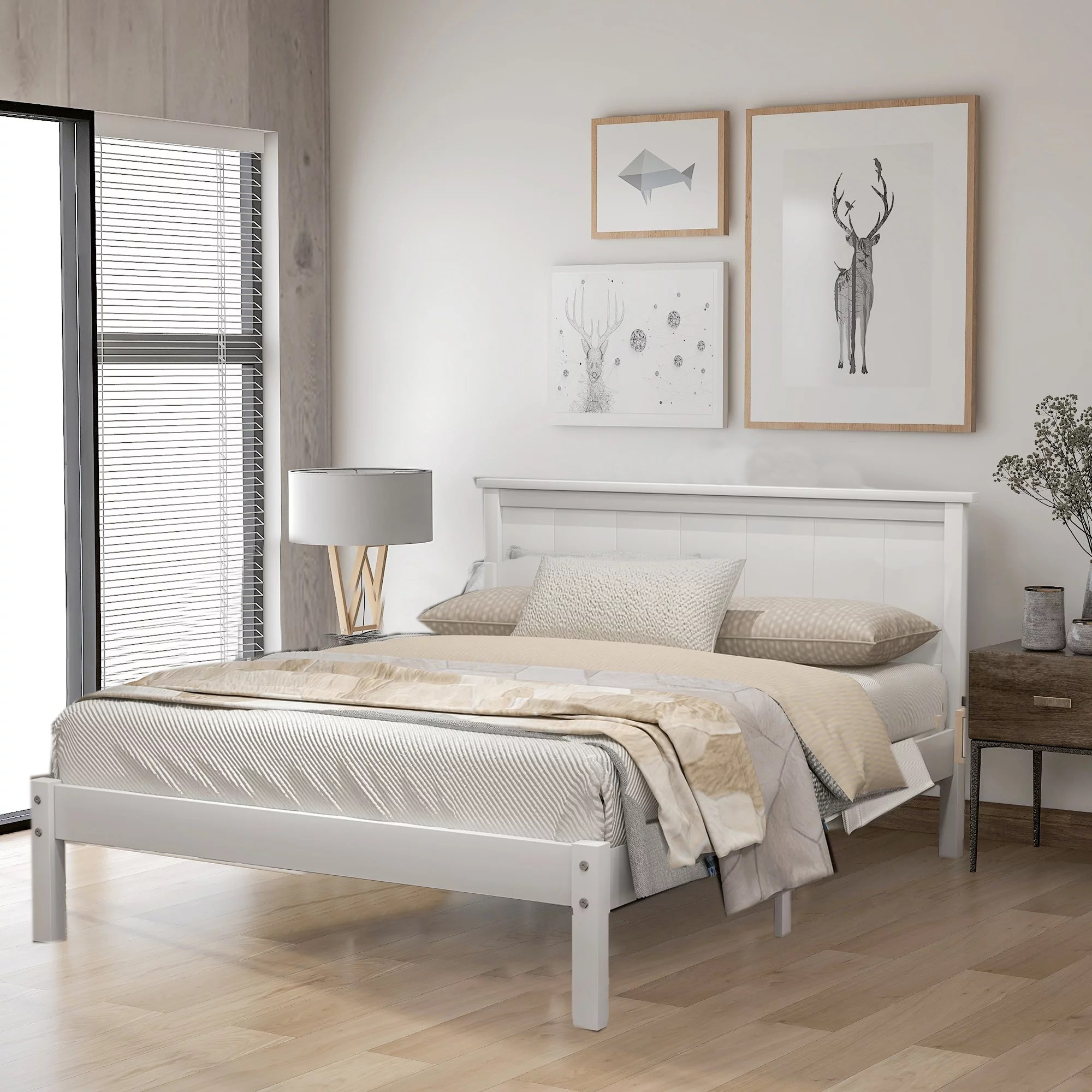 Queen Bed Frame No Box Spring Needed Newest Solid Wood Platform Bed Frame With Headboard Strong Wooden Slats Easy Assembly Queen Bed Frame For Kids Queen Bed Frame For Adults White W7446