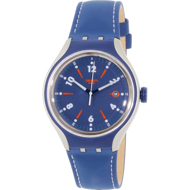 Swatch Men's Irony YES4000 Blue Leather Swiss Quartz Fashion Watch