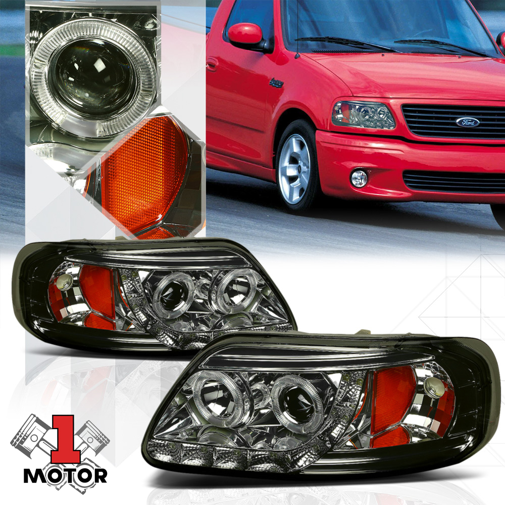 hight resolution of smoked dual halo projector headlight led drl amber signal for 97 03 ford f 150 98 99 00 01 02 walmart com