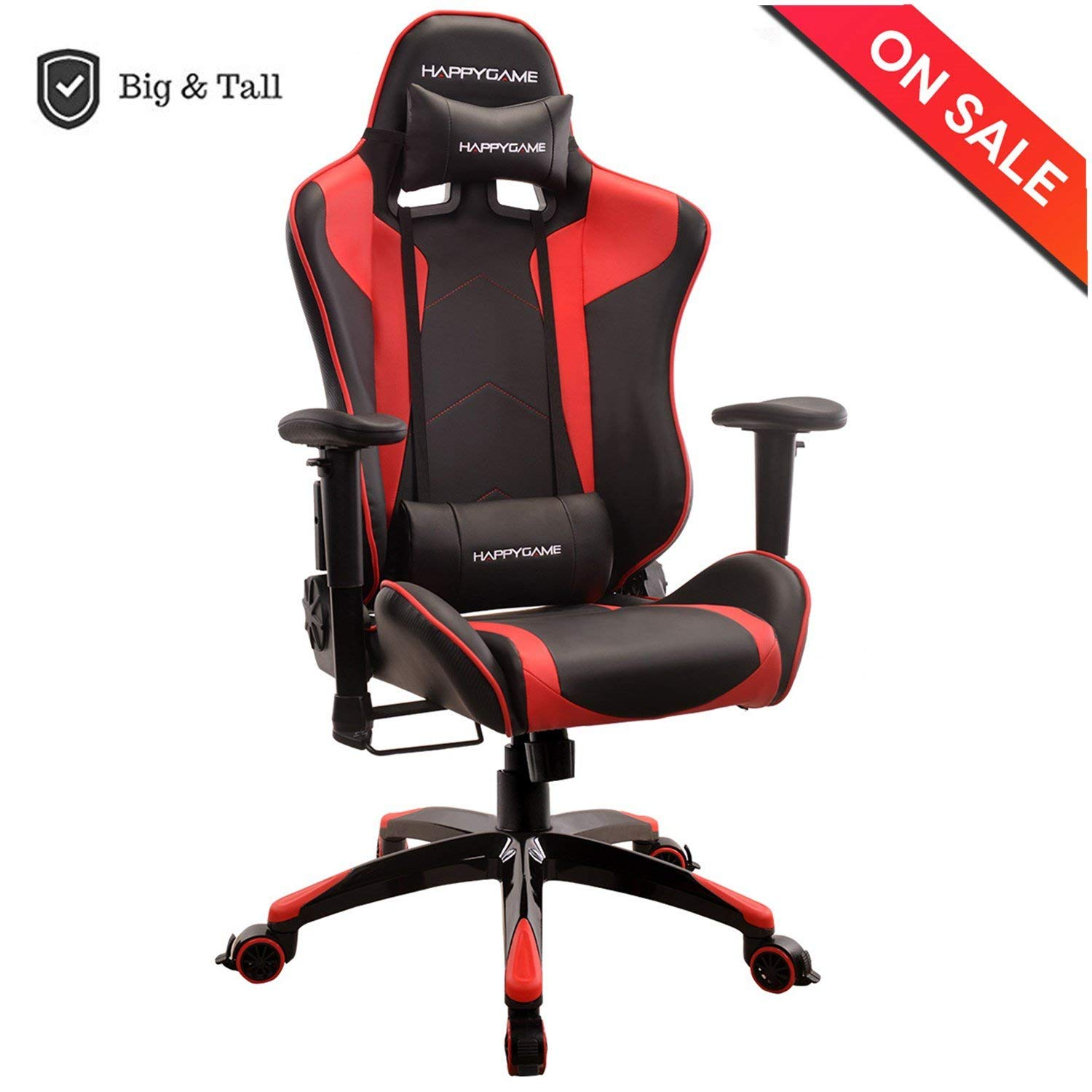 heavy duty gaming chair white outside chairs happygame oversized 400 lbs capacity racing high back ergonomic swivel computer executive office with headrest and lumbar support