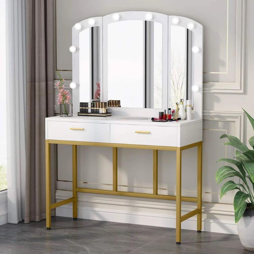 tribesigns vanity table set with tri folding lighted mirror elegant makeup vanity dressing table dresser desk with 2 large drawers 10 led lights for