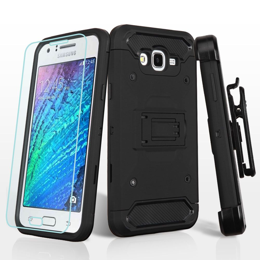 Samsung Galaxy J7 (2015) Phone Case. Samsung Galaxy J7 (2015) Case. by Insten Hard Dual Layer TPU Case with Holster For Samsung Galaxy J7 (2015 ...