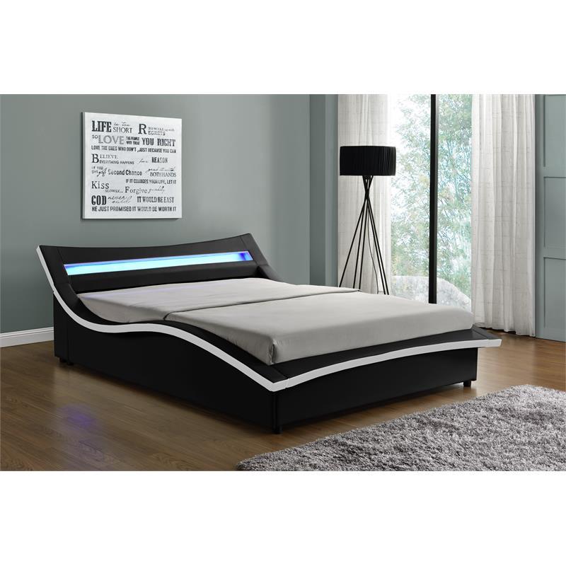 kingway furniture hayton led storage platform california king bed in black white