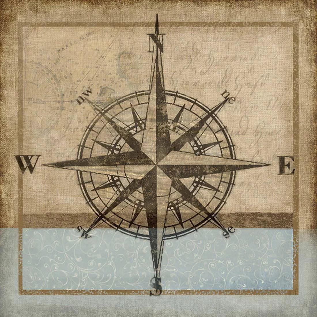 Compass Rose I Nautical Coastal Print Wall Art By Karen