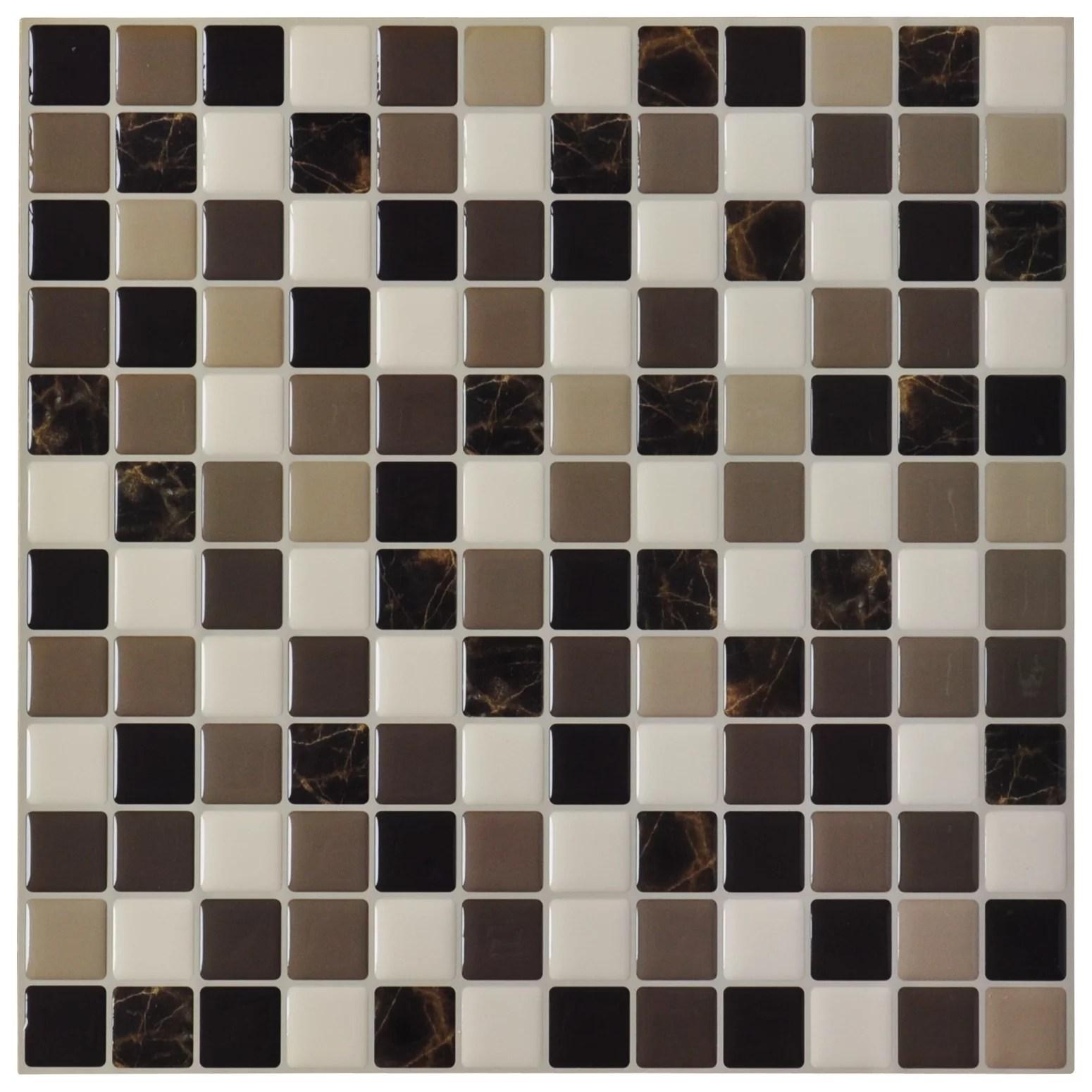 stick on backsplash tiles for kitchen cabinet refinishing ct art3d 6 pack tile marble square peel and 12 x walmart com