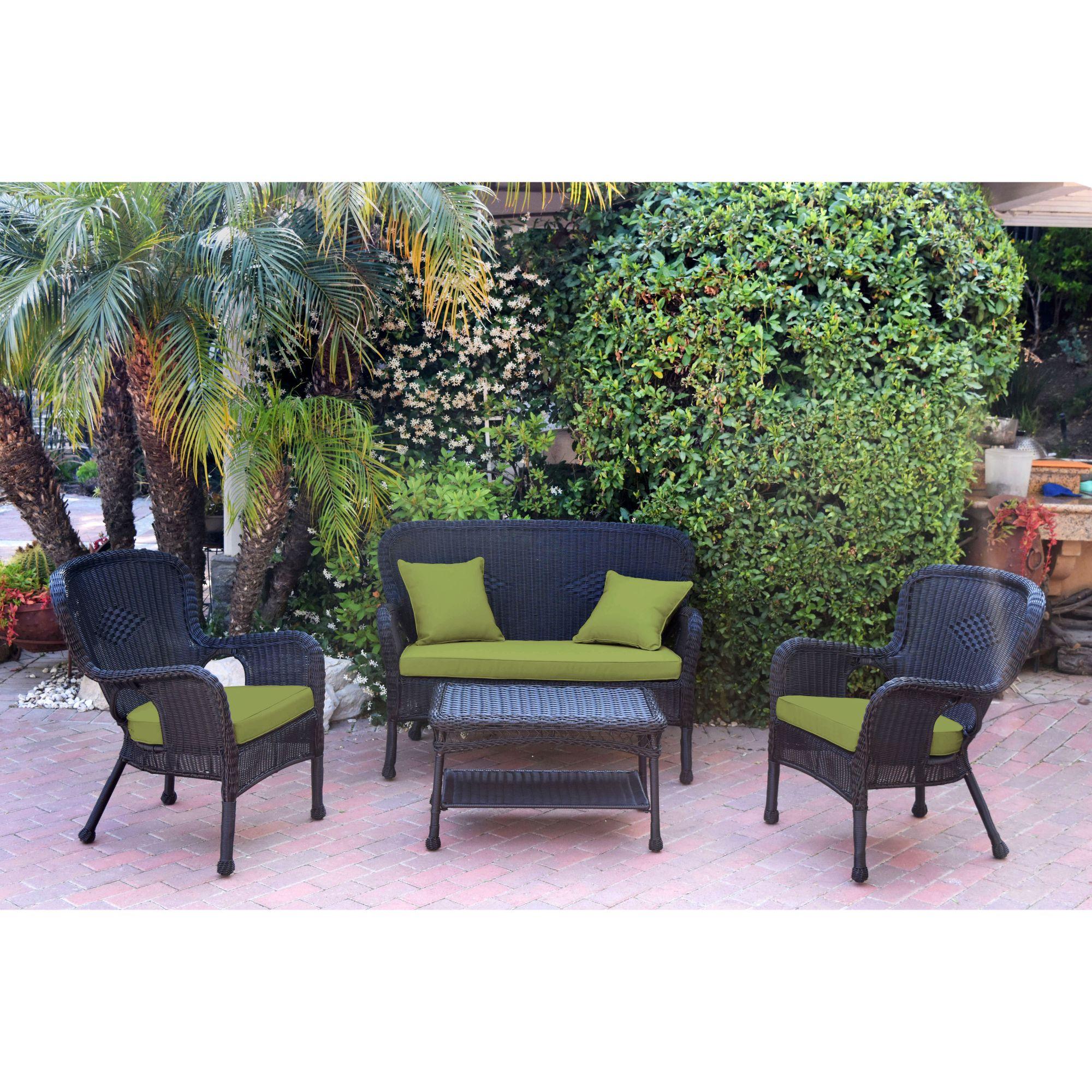 4 piece black solid wicker outdoor furniture patio conversation set sage green cushions walmart com