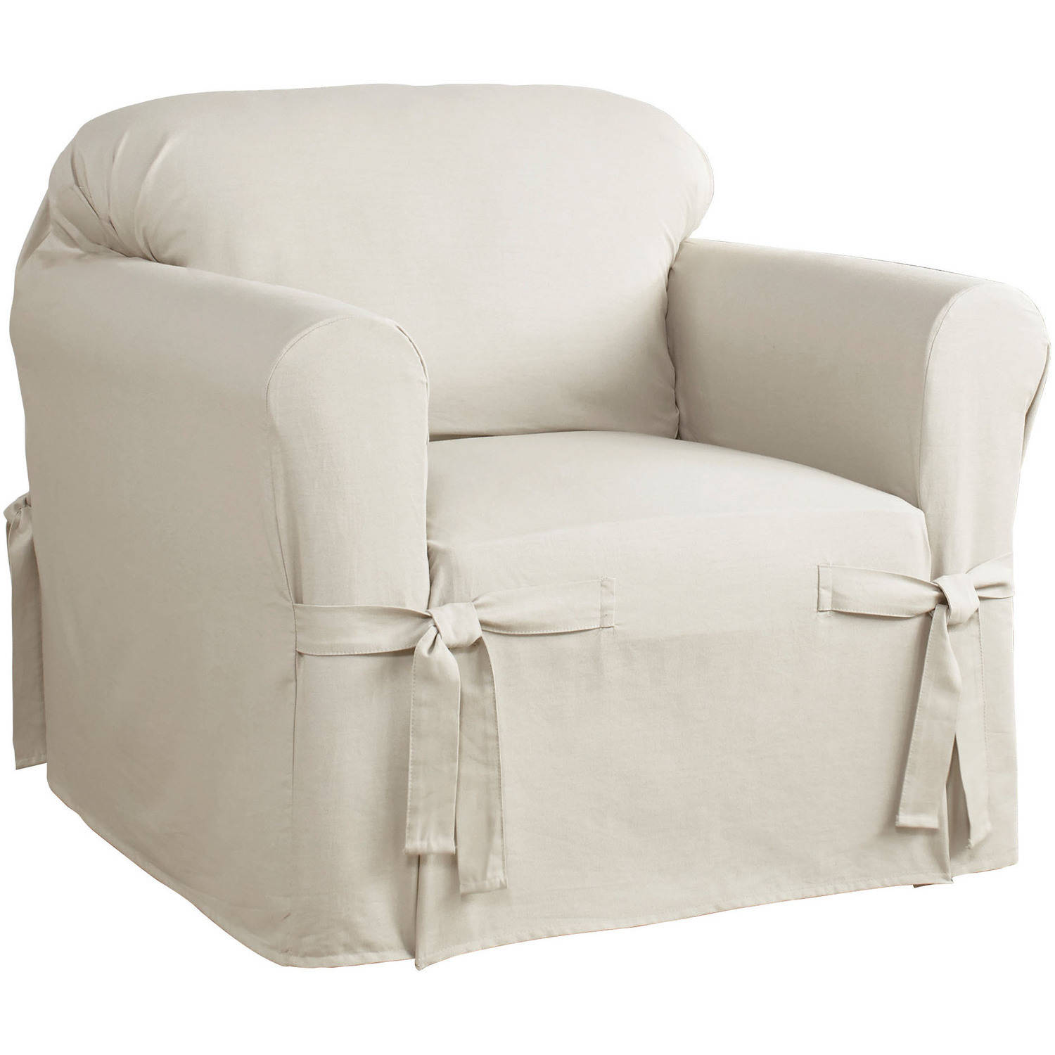 Slip Covers For Chairs Serta Relaxed Fit Cotton Duck Furniture Slipcover Chair 1 Piece Box Cushion