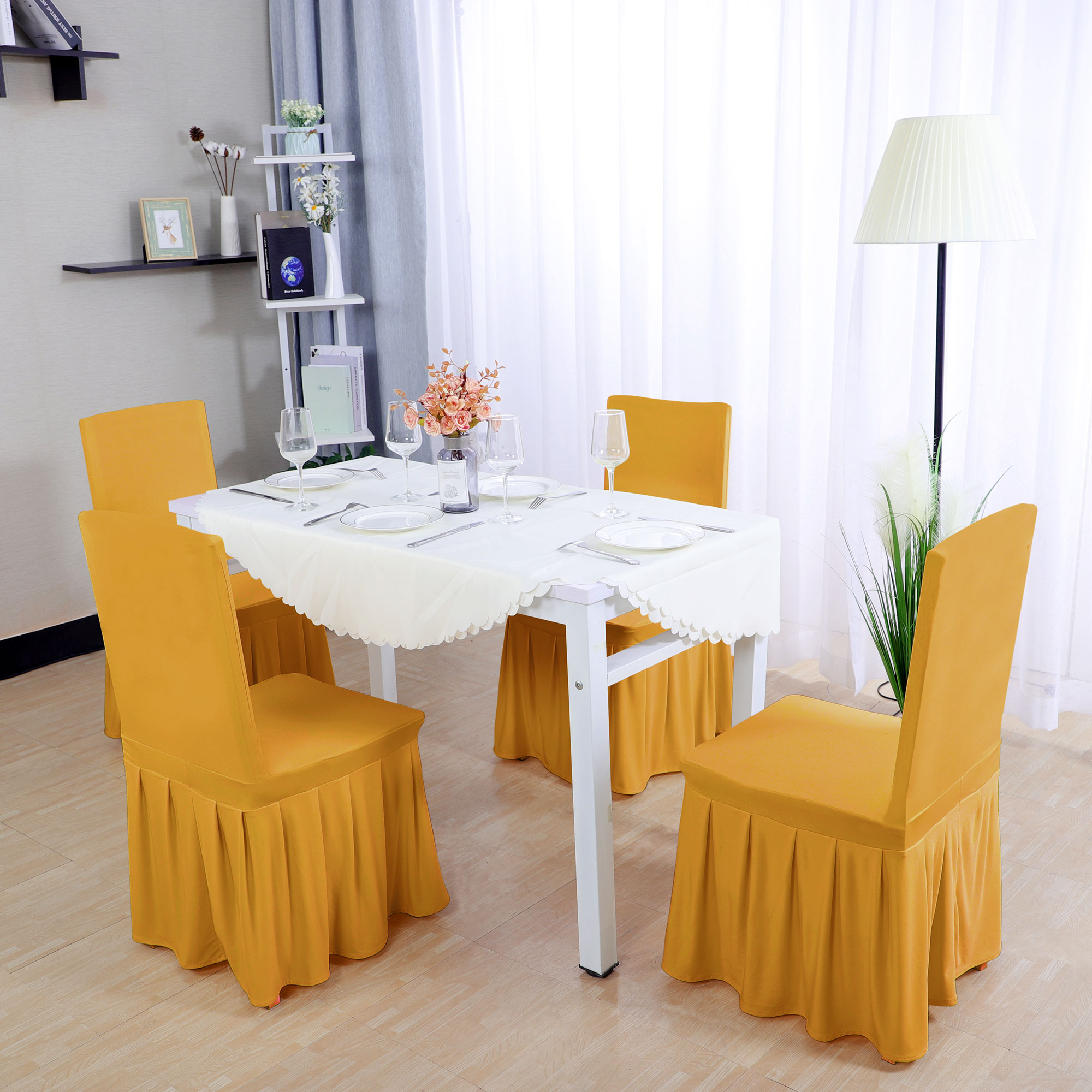 yellow chair covers swan swivel spandex pleated dining round slipcovers dark 1pc walmart com