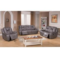 Lay Flat Recliner Chairs Hospital For Sale Sofaweb Com Galaxy Gray Top Grain Leather Reclining Sofa Loveseat And Chair Walmart