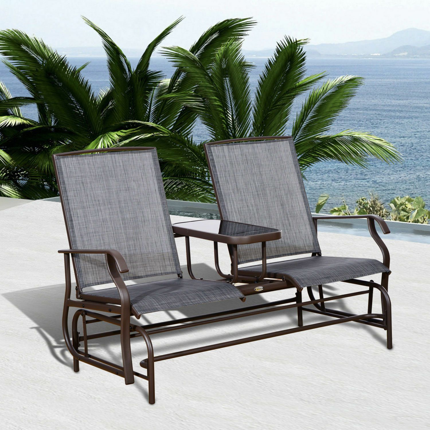 patio sunroom glider rocking chair bench loveseat 2 person rocker deck outdoor furniture rocking function sling fabric sturdy frame