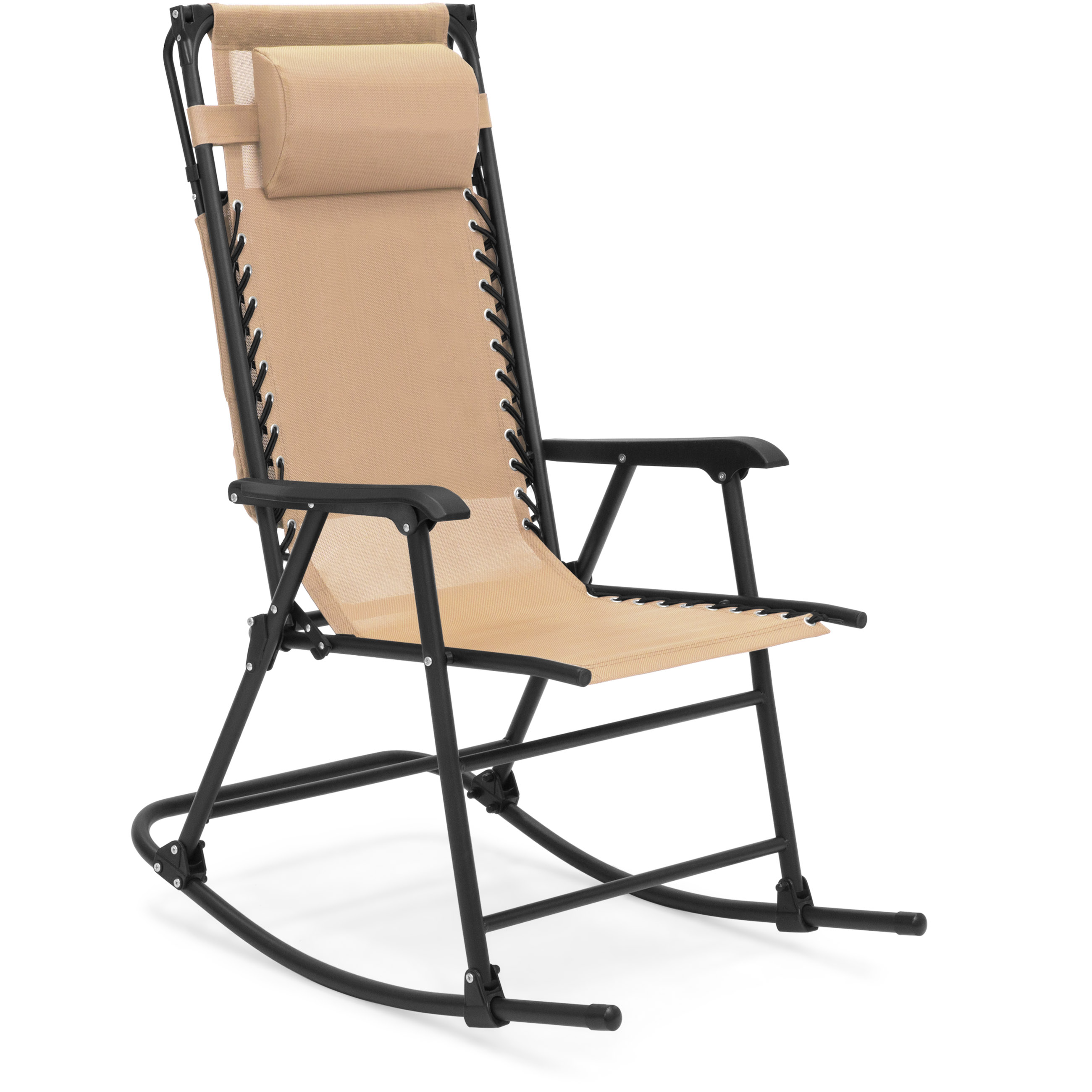 Foldable Patio Chairs Best Choice Products Foldable Zero Gravity Rocking Patio Chair W Sunshade Canopy Tan
