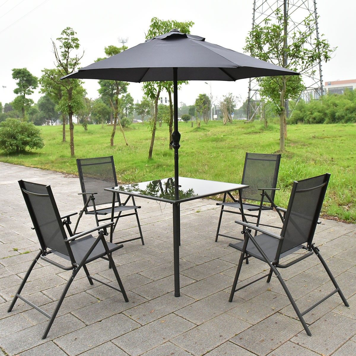 complete set 6pcs patio garden furniture 4 folding chairs table with umbrella gray