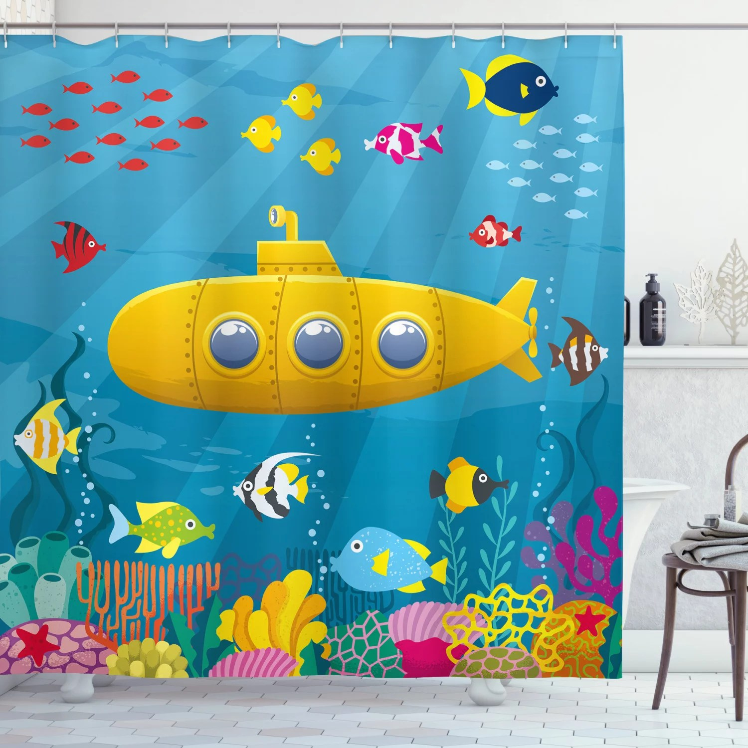 yellow submarine shower curtain coral reef with colorful fish ocean life marine creatures tropic kid fabric bathroom set with hooks blue yellow