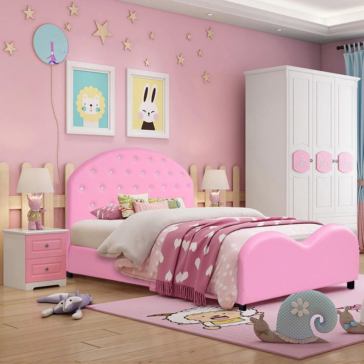 Costway Kids Children Pu Upholstered Platform Wooden Princess Bed Bedroom Furniture Pink Walmart Canada