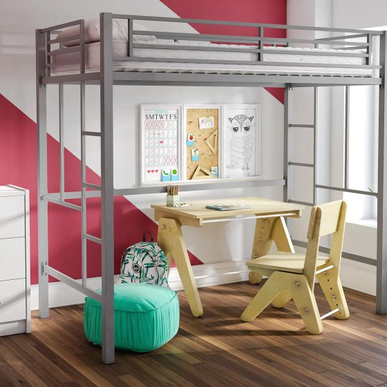 Yourzone Metal Twin Loft Bed Multiple Colors