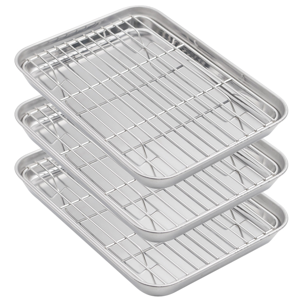 aspire baking sheets and racks set stainless steel oven and dishwasher safe wire rack easy clean 12 5 inch x 9 5 inch x 1 inch 3 pcs
