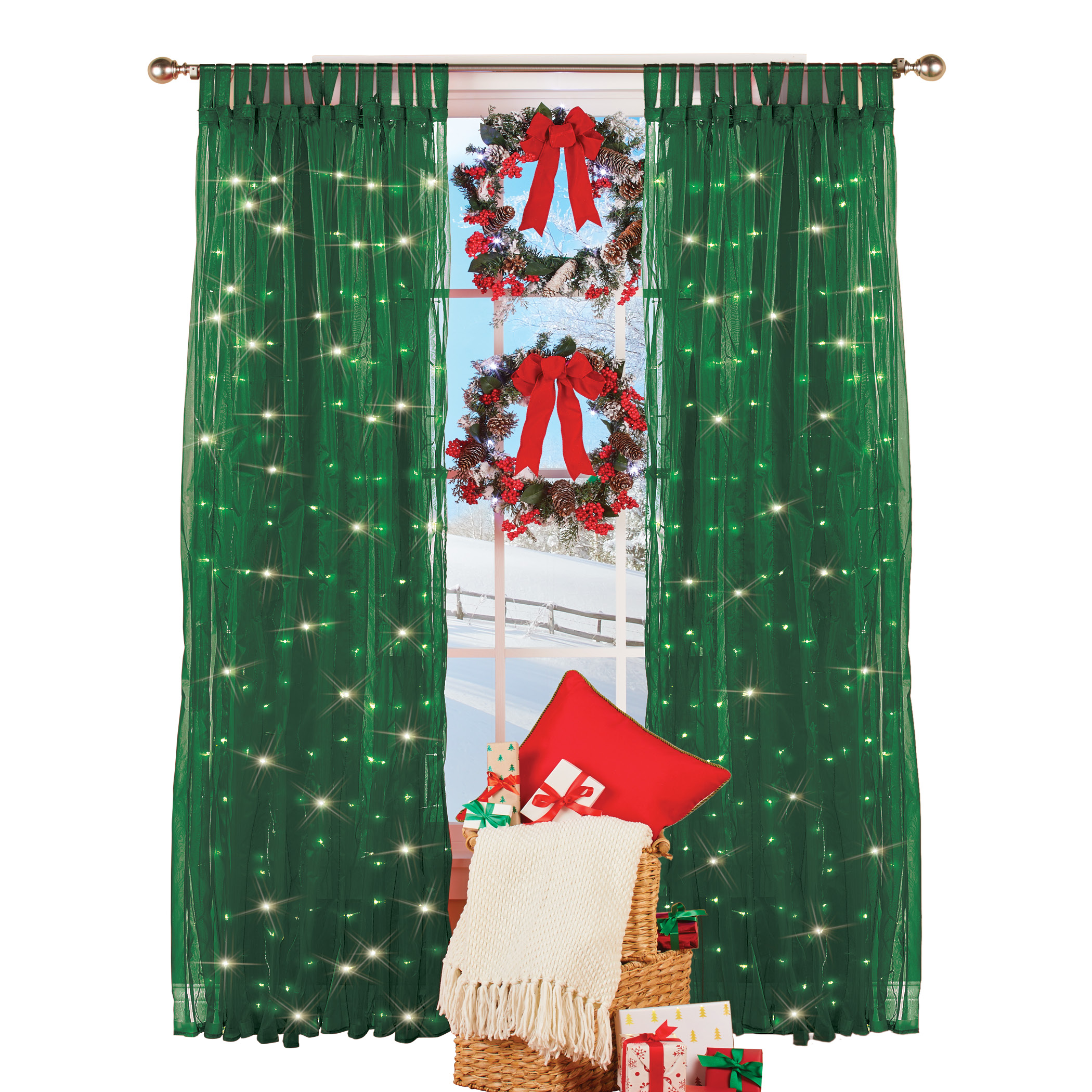 collections etc light up magical sheer window curtain panel red