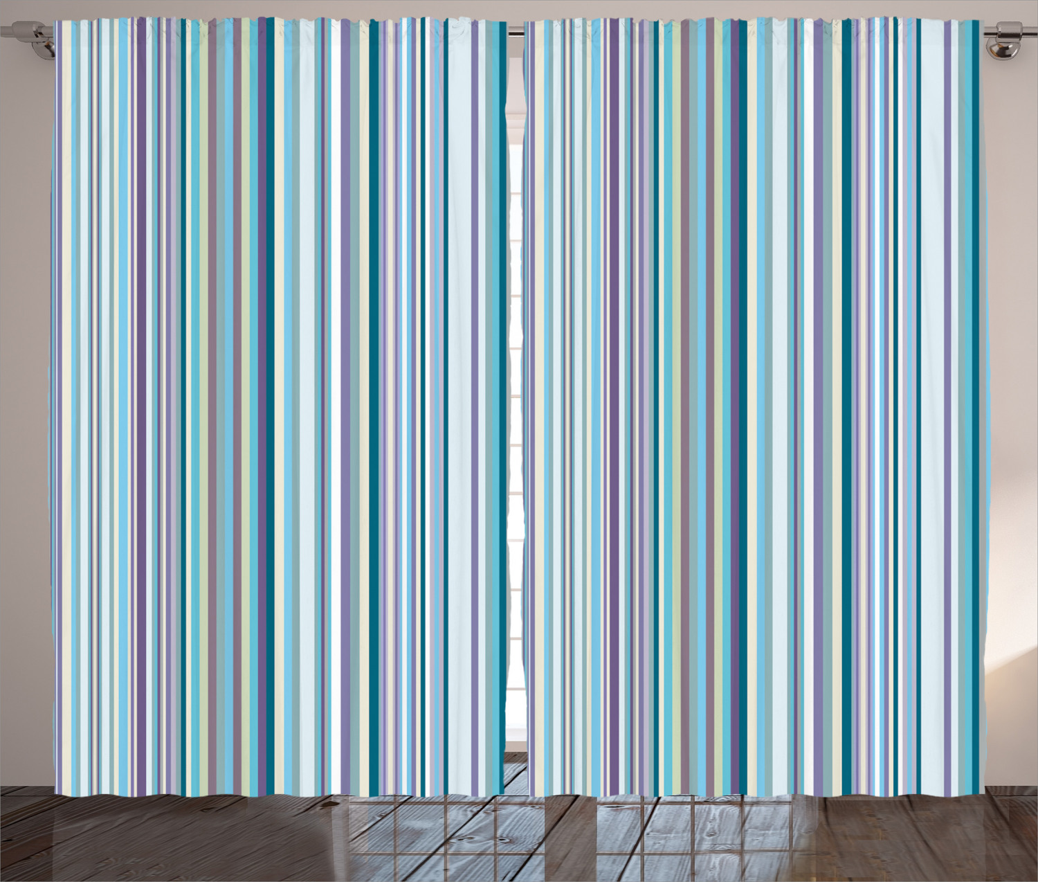 striped curtains 2 panels set blue purple teal aqua lavender colored vertical stripes geometric abstract vintage window drapes for living room
