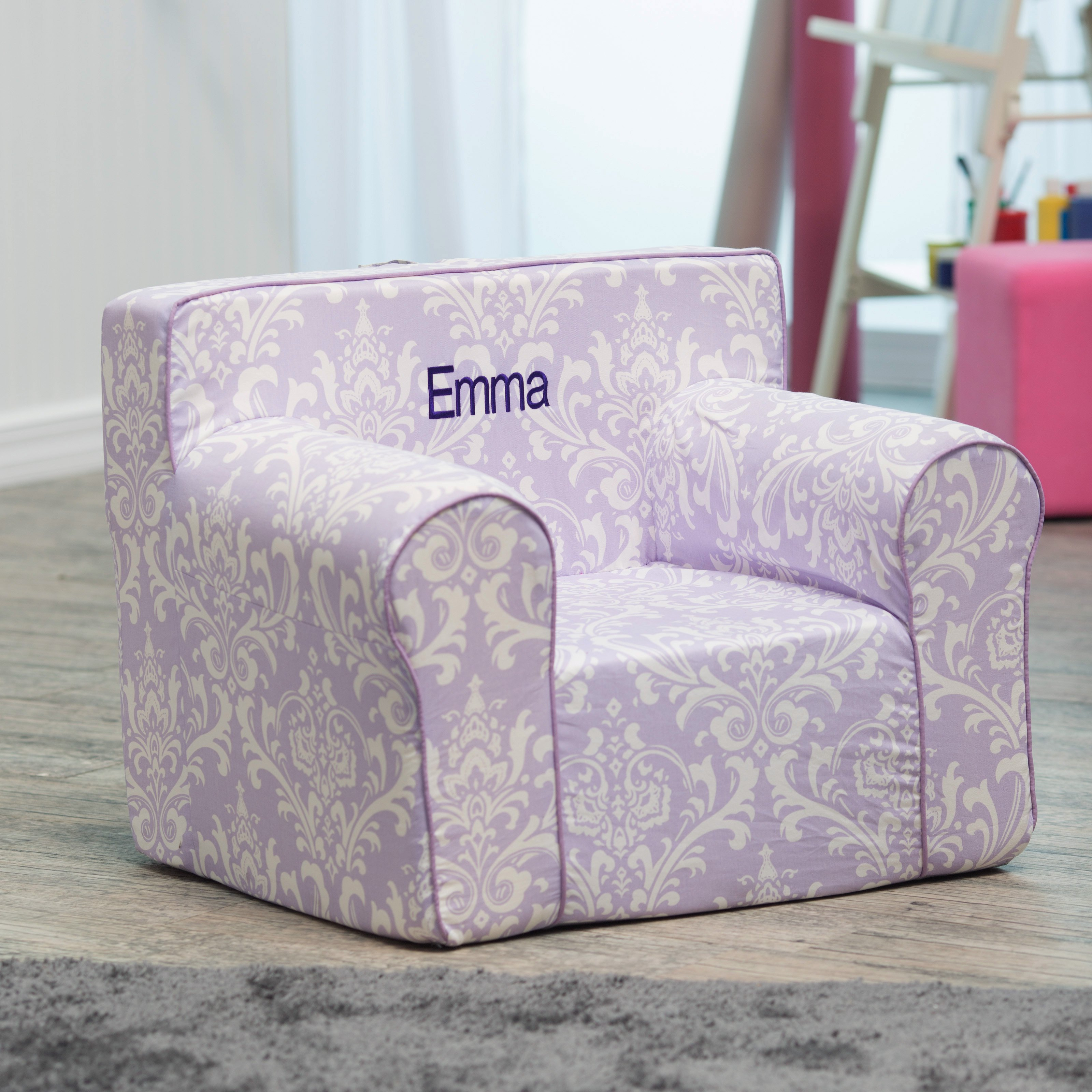 personalized kids chair replacement spindles uk here and there purple damask walmart com