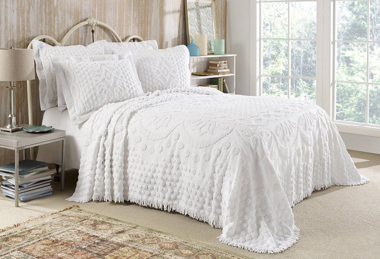 kingston tufted chenille bedspread and pillow sham set all cotton queen size white