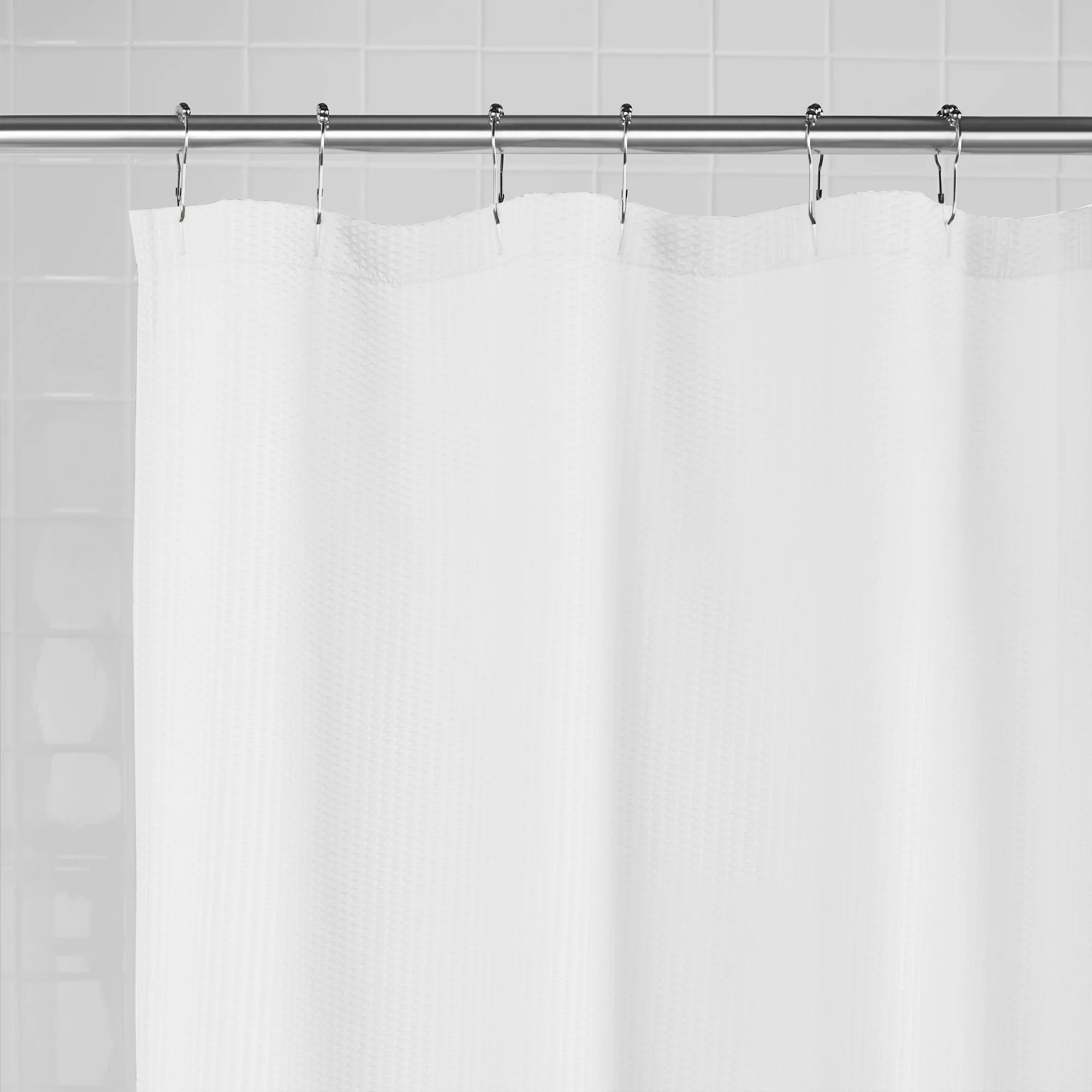 mainstays water repellent textured fabric shower liner 70 inches x 72 inches white