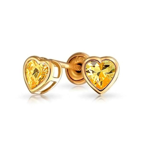 Tiny Heart Bezel Set Stud Earrings Kids Light Color Cubic Zirconia Simulated Stones Cz 14k Gold