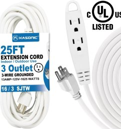 kasonic 25 feet 3 outlet extension cord 3 wire grounded 13 amp 125 v 1625 watts multi outlet indoor and outdoor use walmart com [ 1000 x 1000 Pixel ]