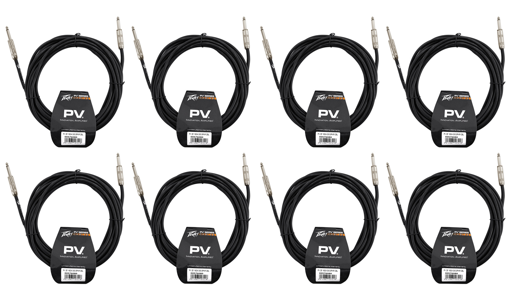 "(8) New Peavey PV 25' 16 Gauge ¼"" to ¼"" Speaker Cables"