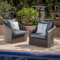 Wicker Swivel Patio Chair Unique Leather Office Chairs Red Barrel Studio Dierdre Outdoor Club With Cushions Set Of 2 Walmart Com