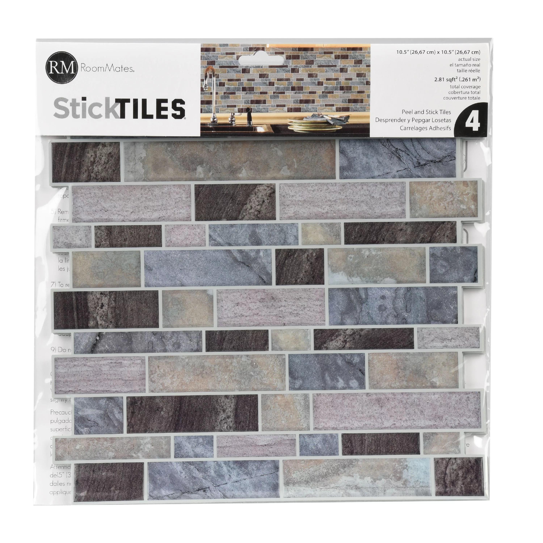 roommates blue long stone tile peel and stick backsplash includes 4 tiles of 10 5 x 10 5 each walmart com