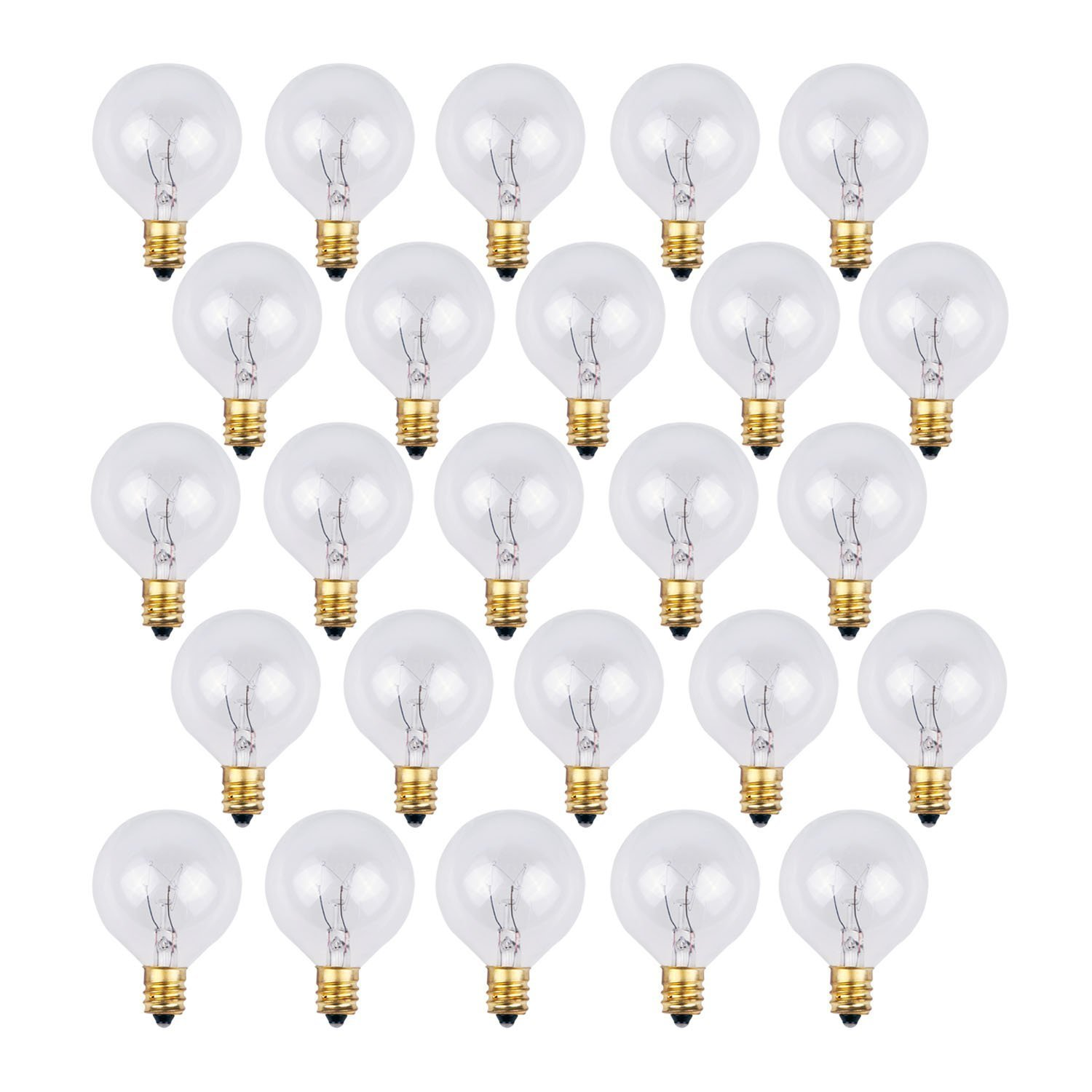 25 pack clear g40 globe light bulbs for patio string lights fits e12 and c7 base 5 watt g40 replacement bulbs for patio lights