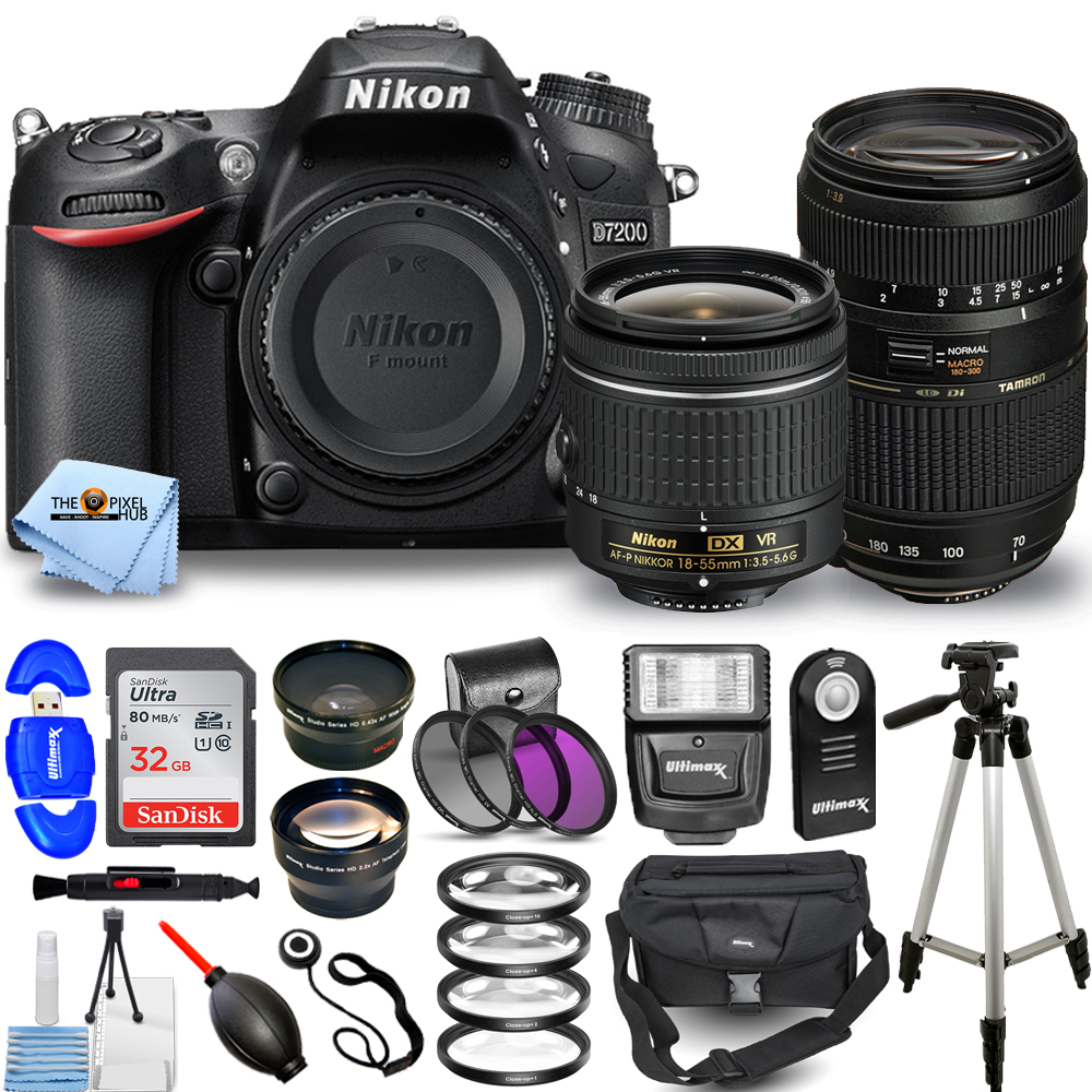 Nikon D7200 DSLR Camera 1554 with 18-55mm VR + 70-300mm Top Value Bundle with 32GB SD. Telephoto and Wide-Angle Lens. Filter Kits. Flash. Gadget ...