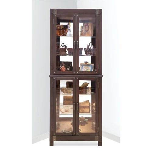 Red Barrel Studio Wellesley Lighted Corner Curio Cabinet