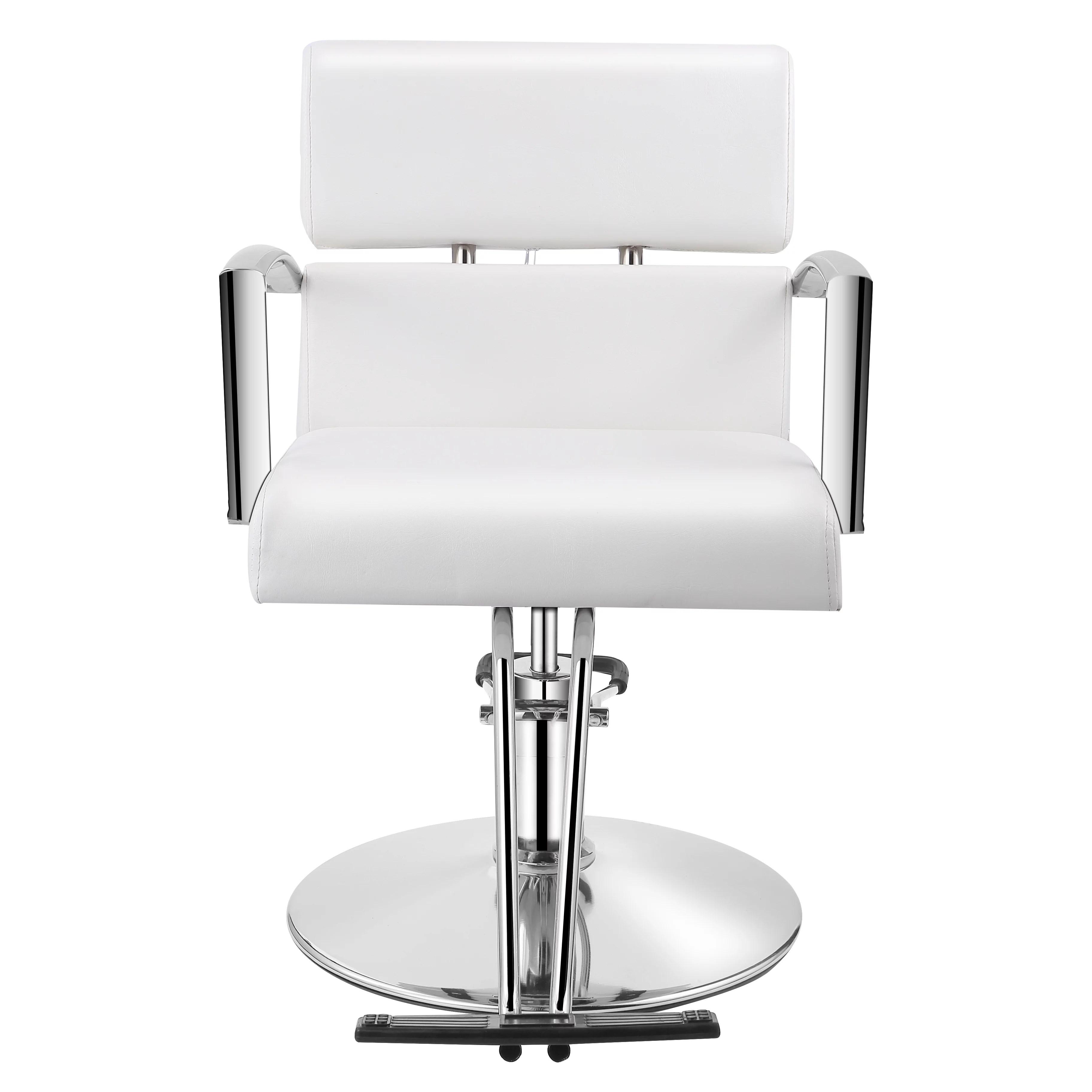 Baasha White Salon Chair For Hair Stylist Hydraulic Salon