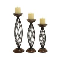 Traditional Metal Wood Candle Holder (Set Of 3) - Walmart.com