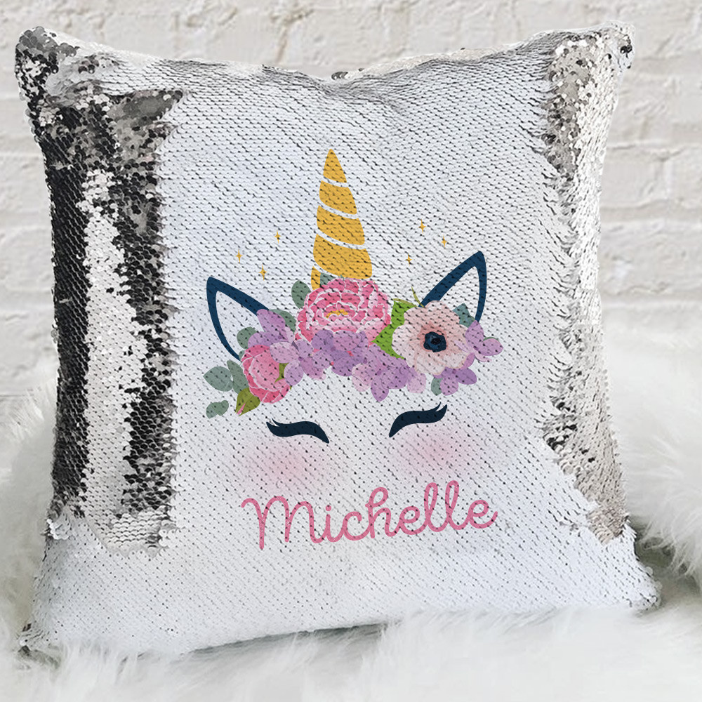 personalized kids unicorn sequin throw pillowcase custom sequin mermaid pillow