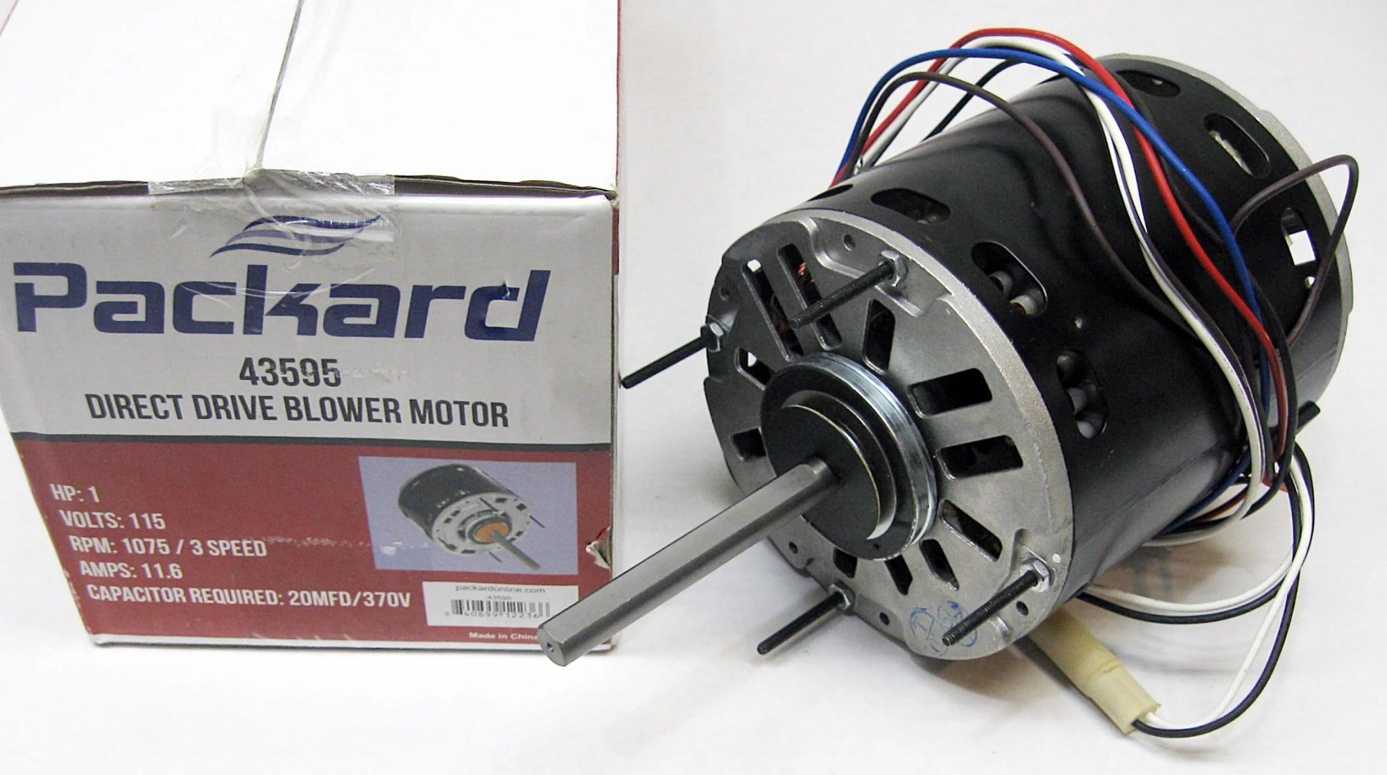 hight resolution of 3 speed furnace blower fan motor packard 43595 1 hp 1075 rpm 115 volt 48 frame walmart com