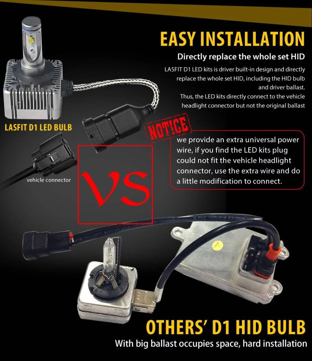 medium resolution of lasfit d1s d1r d3s d3r d1 d3 led headlight bulbs high low beam 72w 7600lm 6000k cool white pack of 2 walmart com