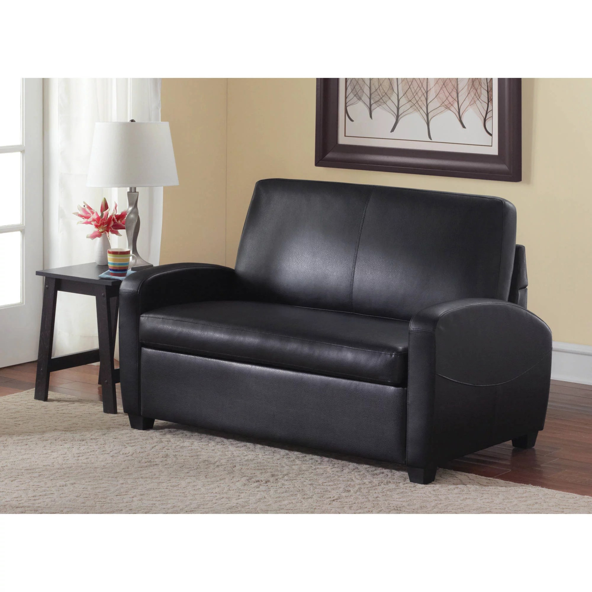 chair beds for adults twin sofa sleeper mainstays 54 faux leather loveseat black walmart com