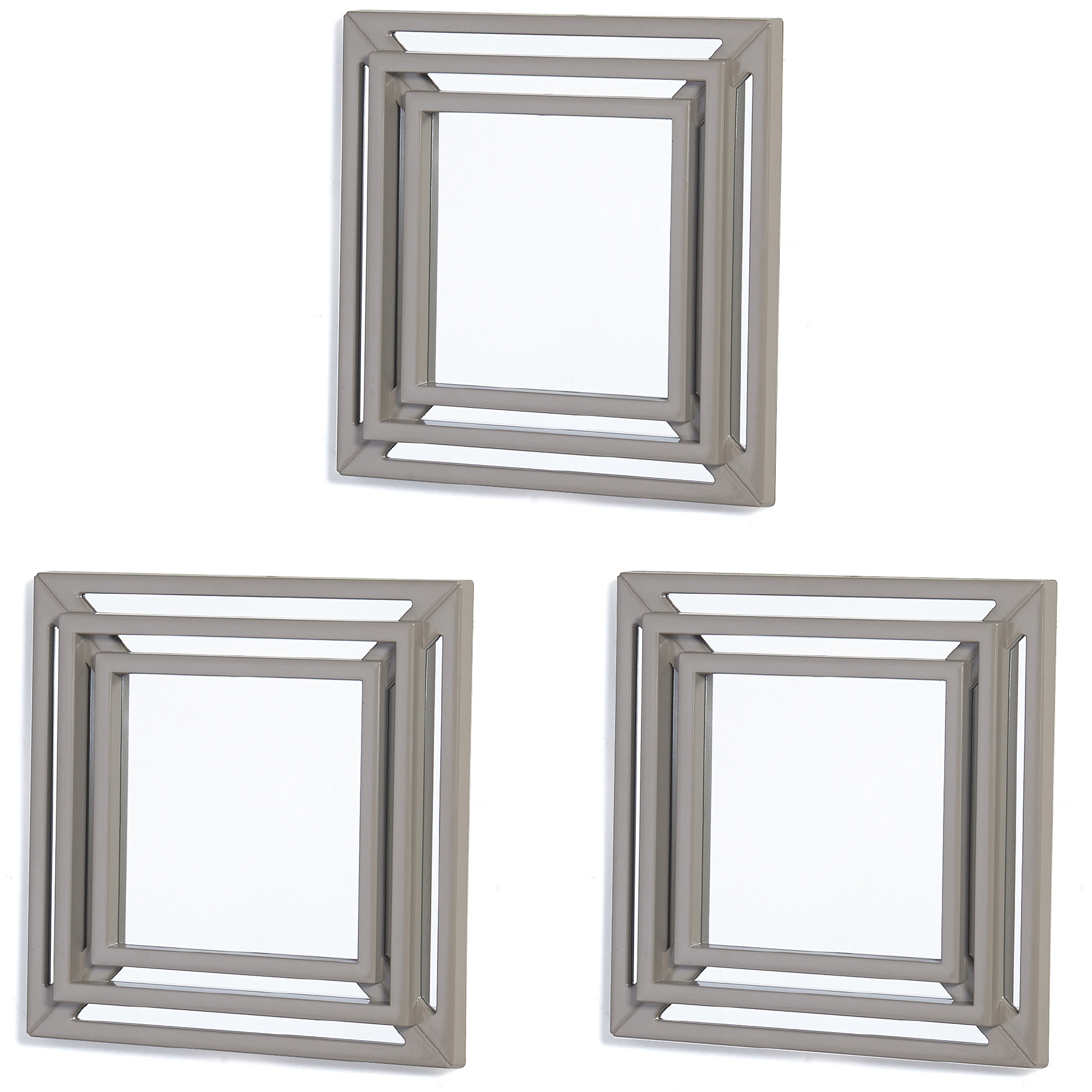 Elements Silver Triple Square Wall Mirrors, Set of 3, 12