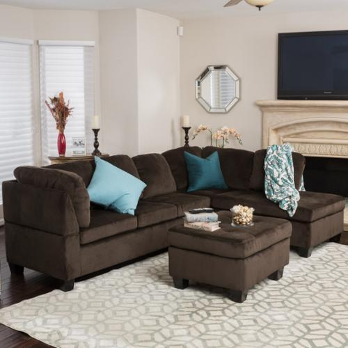 living rooms sets hgtv small room walmart com product image gable chocolate fabric sectional set