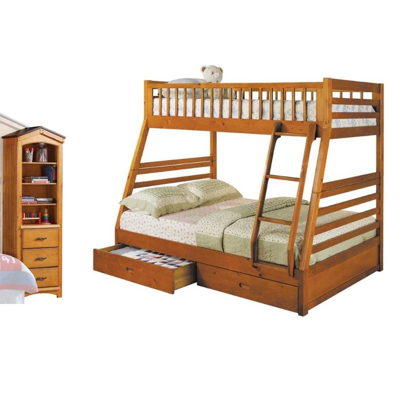set of 2 twin over full storage bunk bed and tree house shelf in oak walmart com
