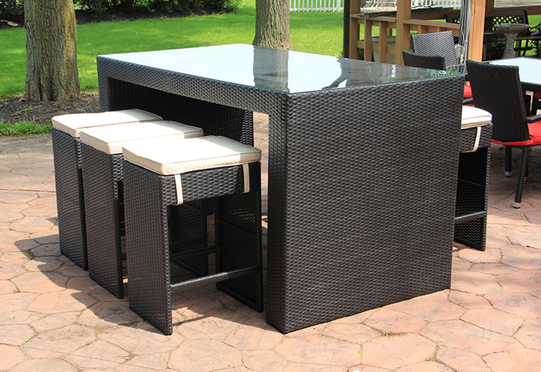 7-piece Black Resin Wicker Outdoor Furniture Bar Dining