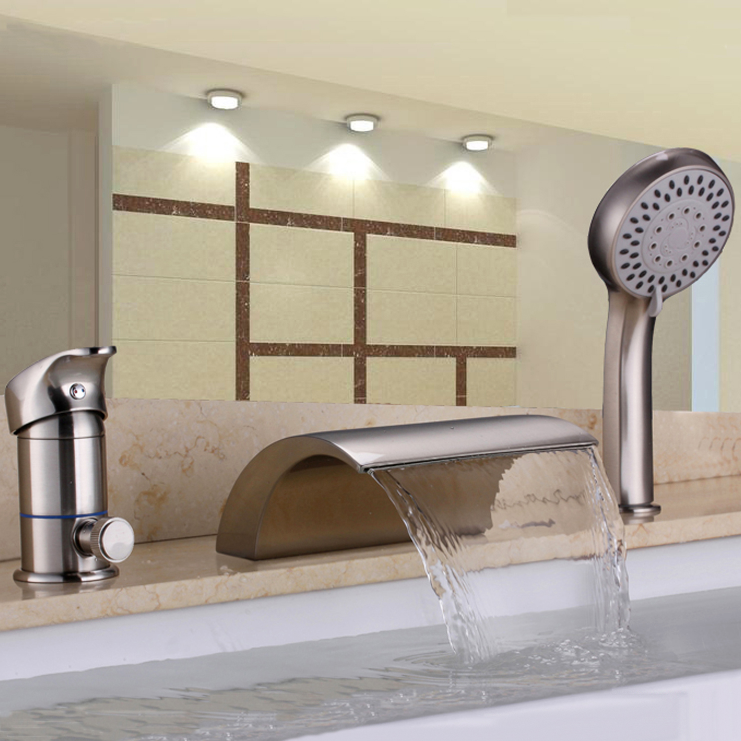 homary deck mount single handle waterfall roman tub faucet with handheld shower in brushed nickel